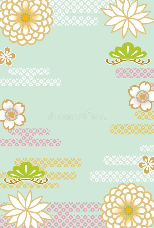 Ιαπωνικό αναδρομικό floral υπόβαθρο ελεύθερη απεικόνιση δικαιώματος
