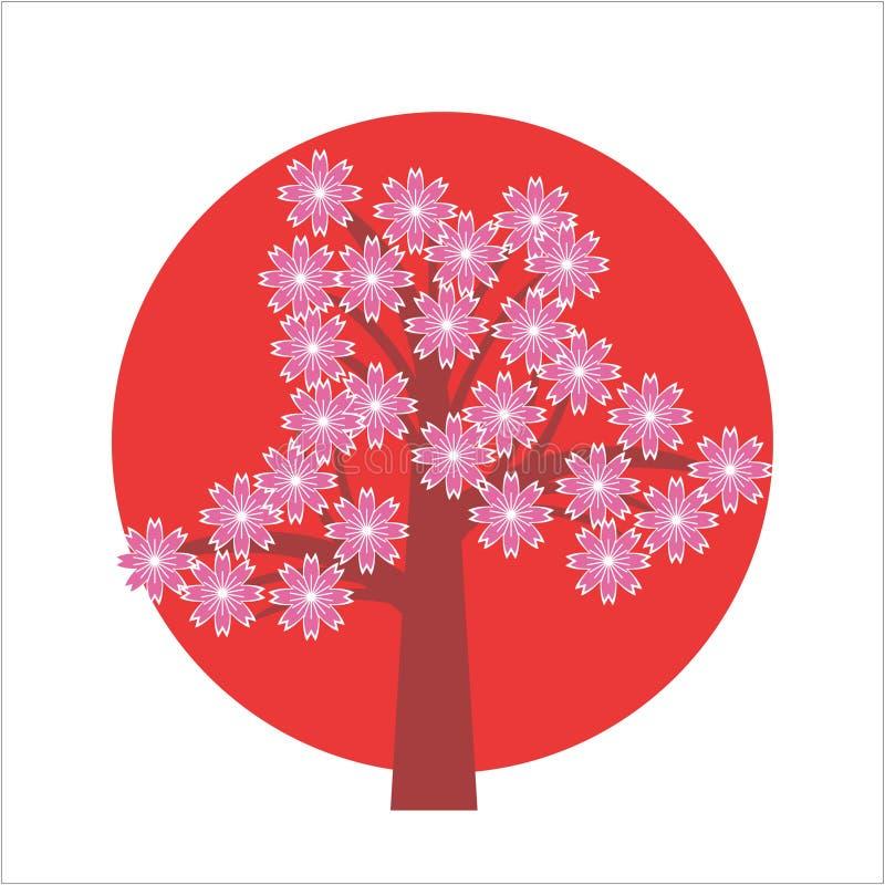 ιαπωνικό δέντρο κερασιών απεικόνιση αποθεμάτων