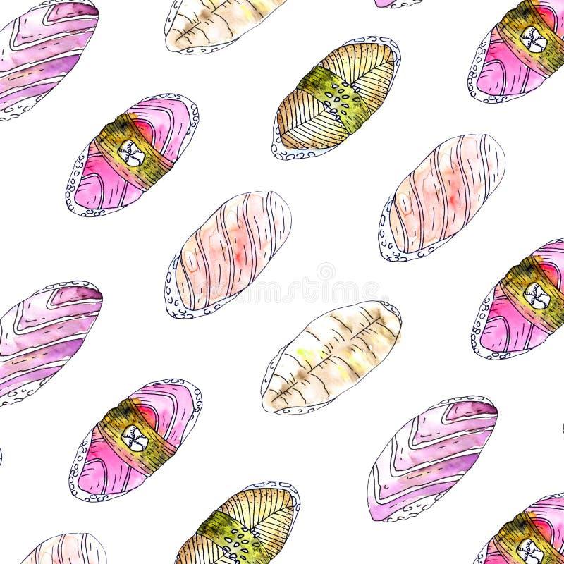 Ιαπωνικό διαγώνιο σχέδιο σουσιών τροφίμων διανυσματική απεικόνιση