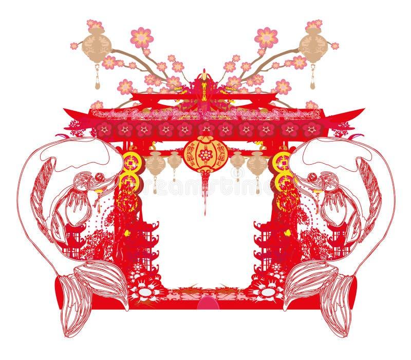 Ιαπωνικό εκλεκτής ποιότητας πλαίσιο koi απεικόνιση αποθεμάτων