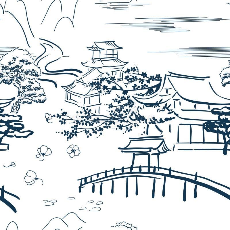 Ιαπωνικό κινητήριο σχέδιο σκίτσων συμβόλων διανυσματικό παραδοσιακό στοκ φωτογραφία