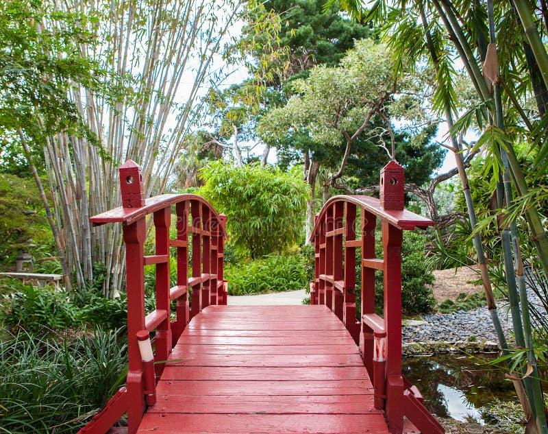ιαπωνικό κόκκινο κήπων γεφυρών στοκ φωτογραφία
