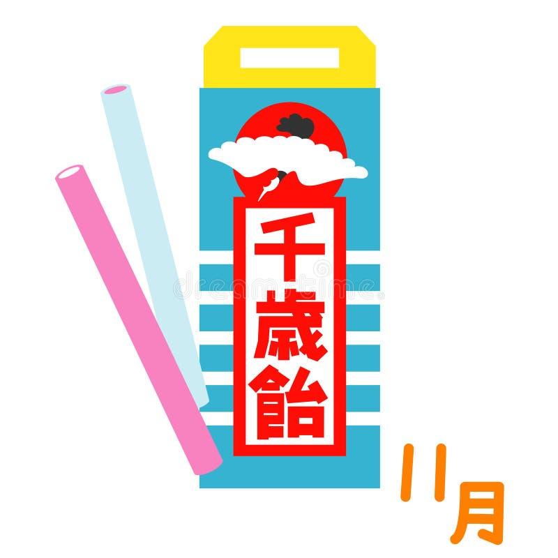 Ιαπωνικό κόκκινο και άσπρο ραβδί ` chitoseame `, εορτασμός καραμελών των πέμπτων παιδιών ` s τρίτος και έβδομων ετών, Νοέμβριος σ διανυσματική απεικόνιση
