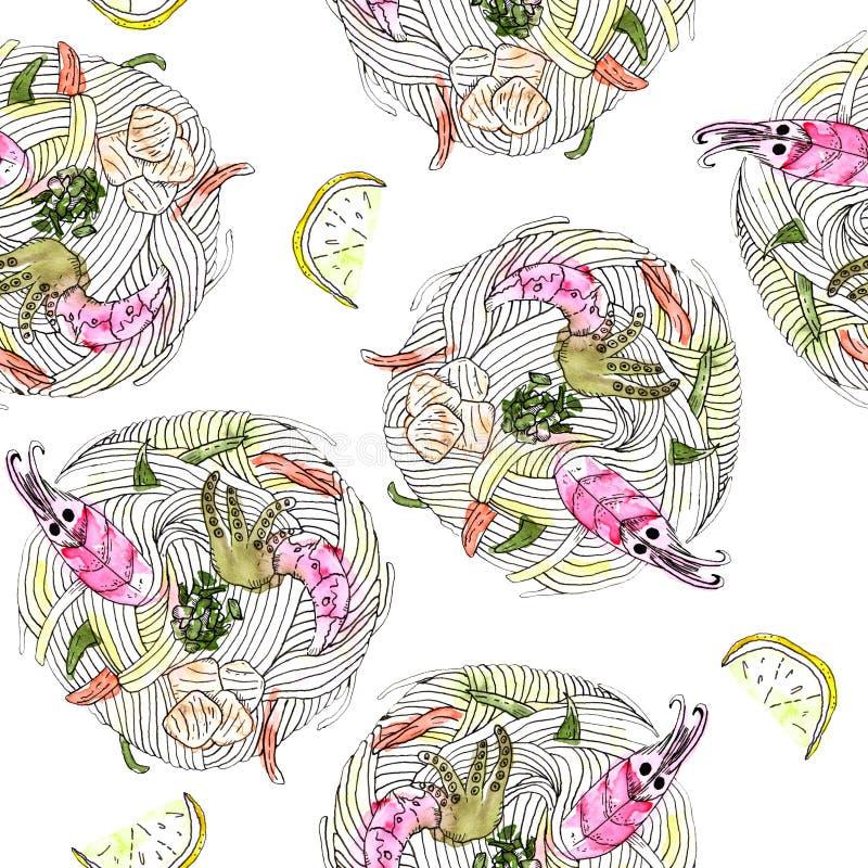 Ιαπωνικό νουντλς τροφίμων udon με το άνευ ραφής σχέδιο θαλασσινών διανυσματική απεικόνιση