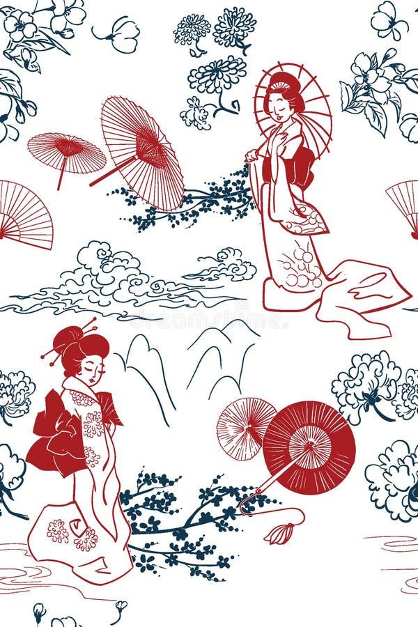 Ιαπωνικό παραδοσιακό διανυσματικό σχέδιο σκηνικού απεικόνισης oruental στοκ φωτογραφία