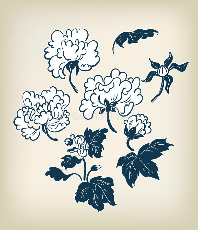 Ιαπωνικό παραδοσιακό διανυσματικό χέρι ύφους μελανιού στοιχείων σχεδίου απεικόνισης peony που σύρεται διανυσματική απεικόνιση