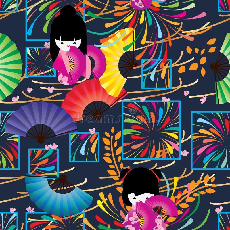 Ιαπωνικό πυροτέχνημα ύφους στο άνευ ραφής σχέδιο παραθύρων διανυσματική απεικόνιση