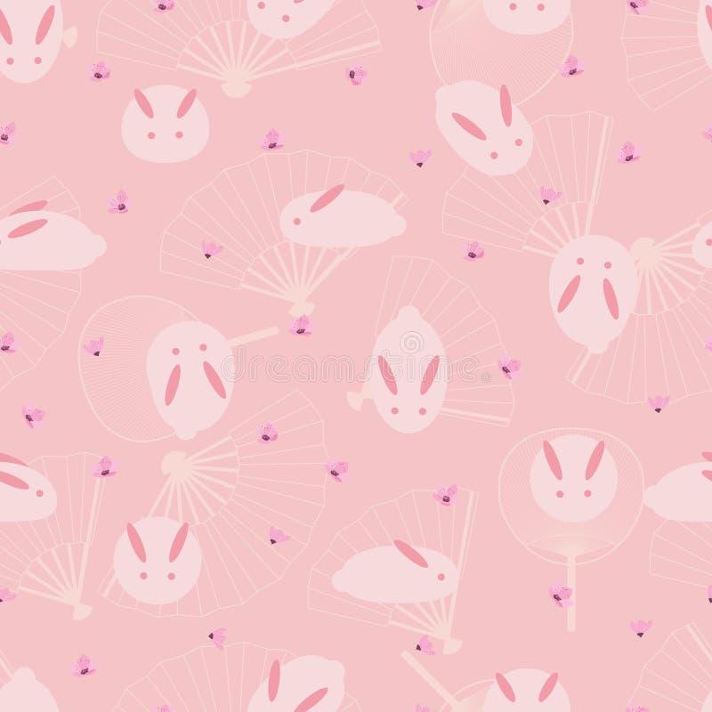 Ιαπωνικό ρόδινο άνευ ραφής σχέδιο ανεμιστήρων κουνελιών απεικόνιση αποθεμάτων