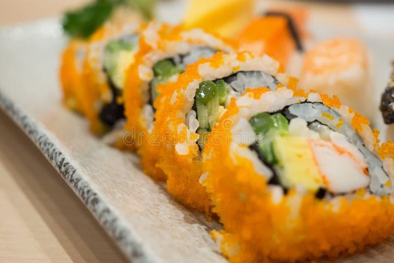 ιαπωνικό σετ maki σούσι στοκ εικόνες
