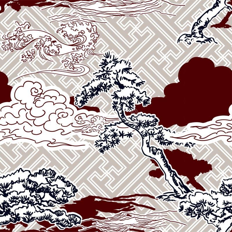 Ιαπωνικό σκηνικό παραδοσιακός Ασιάτης σχεδίων πεύκων διανυσματικό στοκ φωτογραφία