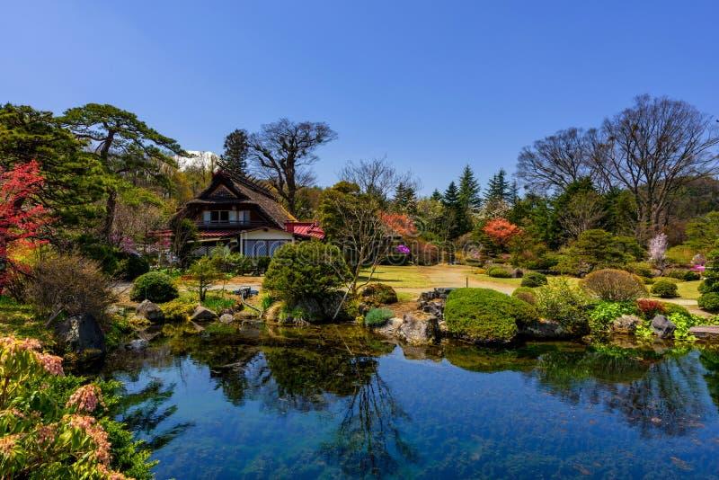 Ιαπωνικό σπίτι με τον κήπο άνοιξη και την ΑΜ fuji στοκ φωτογραφία