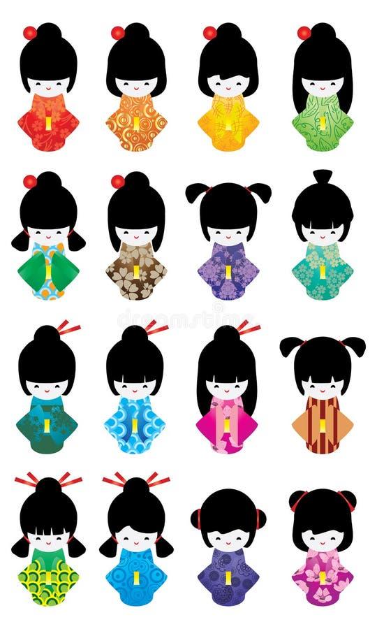 Ιαπωνικό σύνολο κοριτσιών κουκλών διανυσματική απεικόνιση