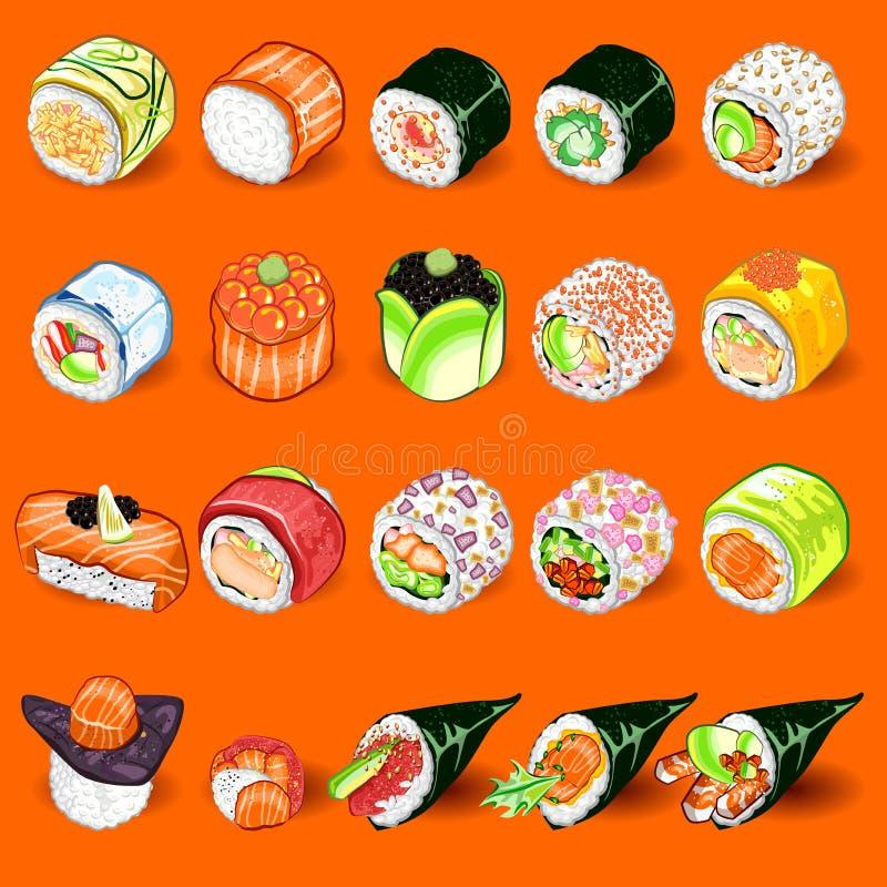 Ιαπωνικό σύνολο συλλογής σουσιών απεικόνιση αποθεμάτων