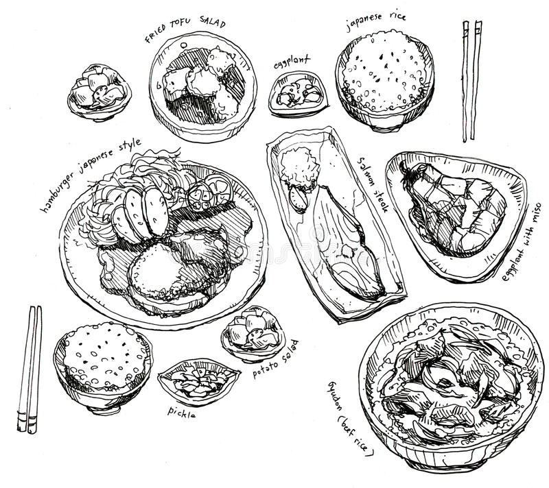Ιαπωνικό σύνολο τροφίμων ελεύθερη απεικόνιση δικαιώματος