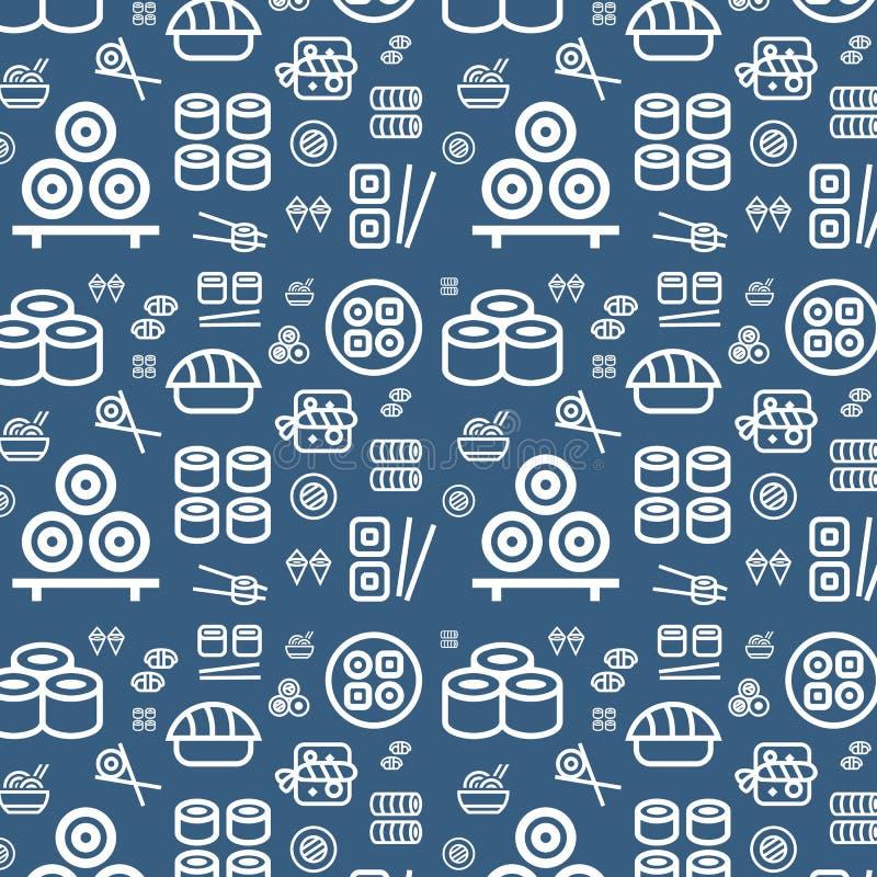 Ιαπωνικό υπόβαθρο σχεδίων τροφίμων άνευ ραφής επίπεδο διανυσματικό Τα εικονίδια σουσιών καθορισμένα τη σύσταση ελεύθερη απεικόνιση δικαιώματος