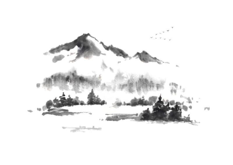 Ιαπωνικό φθινόπωρο ύφους sumi-ε στη ζωγραφική μελανιού βουνών διανυσματική απεικόνιση