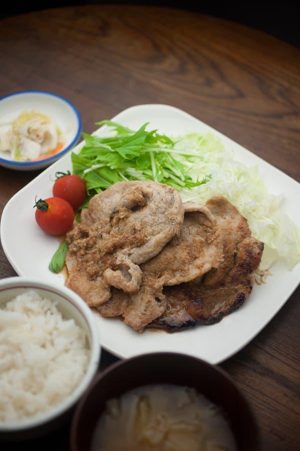 Ιαπωνικό χοιρινό κρέας Shogayaki κουζίνας στοκ φωτογραφία
