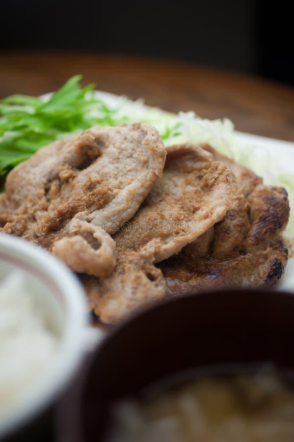 Ιαπωνικό χοιρινό κρέας Shogayaki κουζίνας στοκ φωτογραφίες