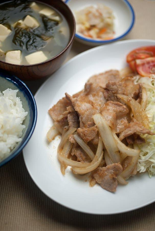 Ιαπωνικό χοιρινό κρέας Shogayaki κουζίνας στοκ εικόνα με δικαίωμα ελεύθερης χρήσης