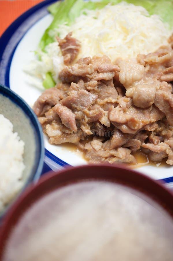 Ιαπωνικό χοιρινό κρέας Shogayaki κουζίνας στοκ φωτογραφία με δικαίωμα ελεύθερης χρήσης