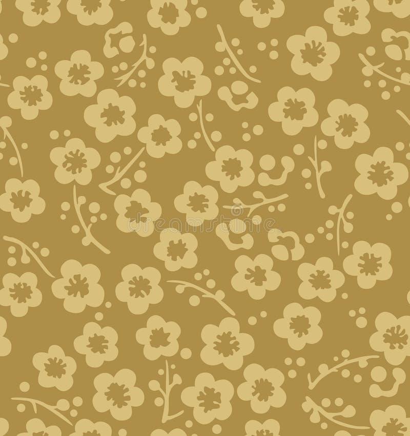 Ιαπωνικό χρυσό άνευ ραφής σχέδιο ανθών κερασιών διανυσματική απεικόνιση