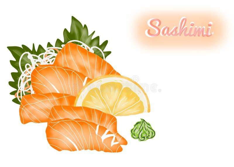 Ιαπωνικό ύφος τροφίμων, sashimi σολομών με τις φέτες λεμονιών, τα φύλλα βα απεικόνιση αποθεμάτων