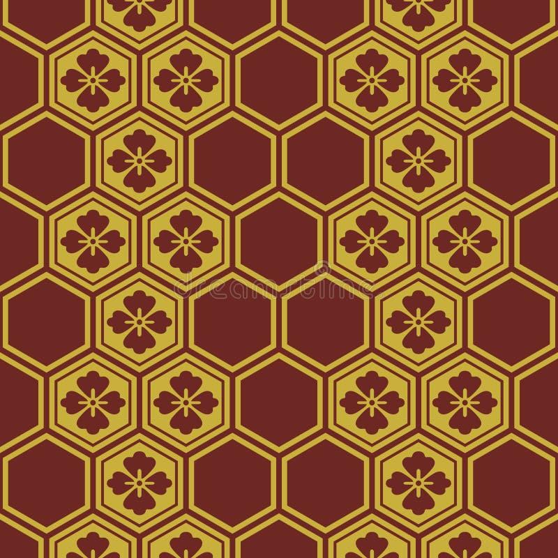 Ιαπωνικό Burgundy και χρυσό σχέδιο λουλουδιών διανυσματική απεικόνιση