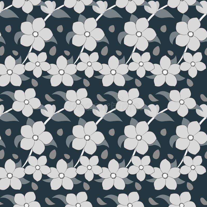 Ιαπωνικό floral υπόβαθρο ύφους με τα άνθη κερασιών διανυσματική απεικόνιση