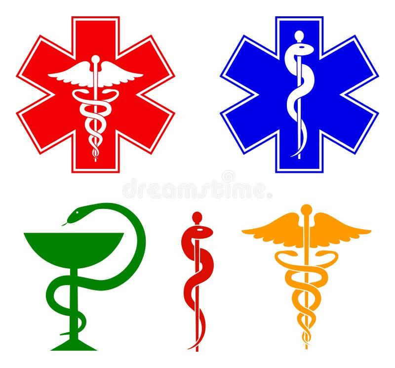 Ιατρικά διεθνή σύμβολα καθορισμένα Αστέρι της ζωής, προσωπικό Asclepius, κηρύκειο, κύπελλο με ένα φίδι Απομονωμένα σύμβολα επάνω απεικόνιση αποθεμάτων