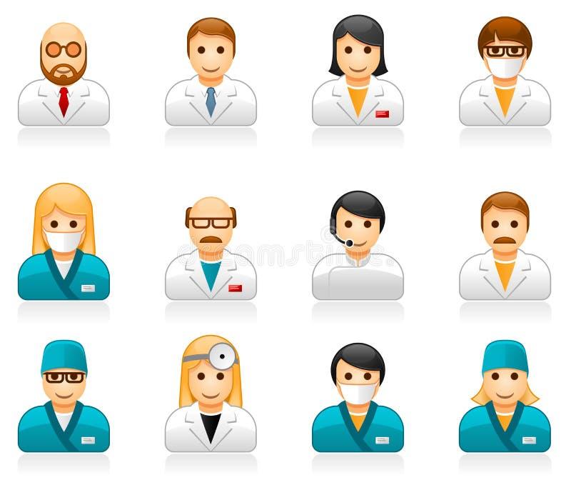 Ιατρικά είδωλα προσωπικού - εικονίδια χρηστών των γιατρών και των νοσοκόμων ελεύθερη απεικόνιση δικαιώματος