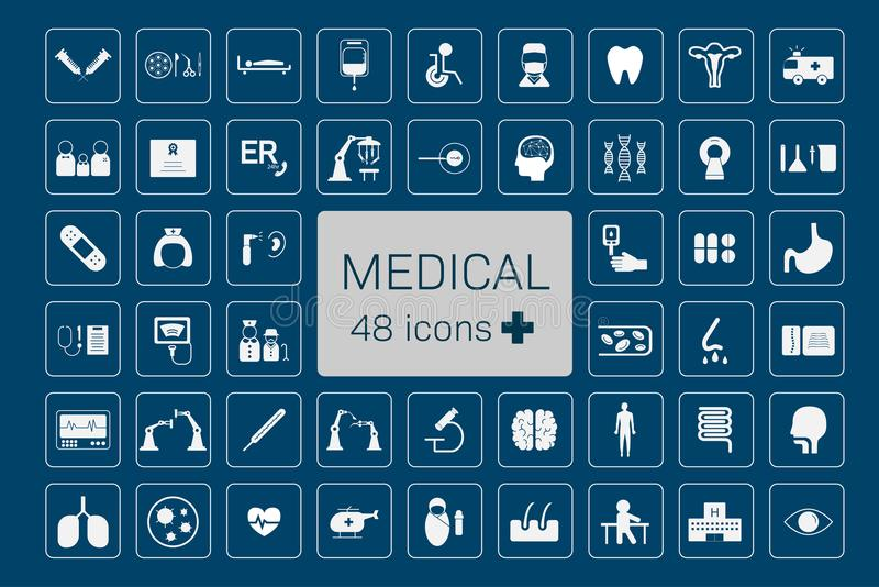 Ιατρικά 48 εικονίδια διανυσματική απεικόνιση
