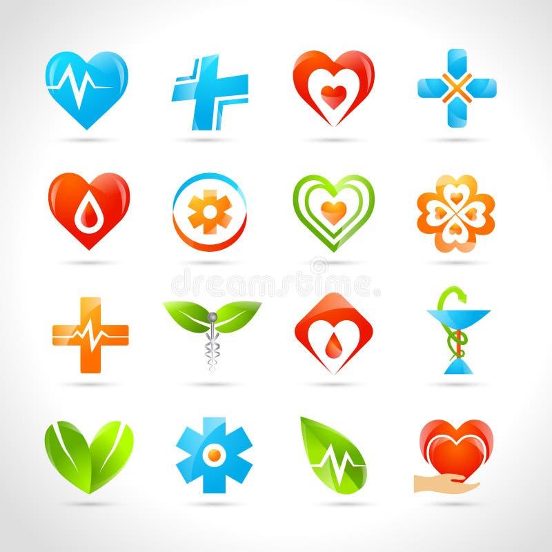 Ιατρικά εικονίδια λογότυπων διανυσματική απεικόνιση