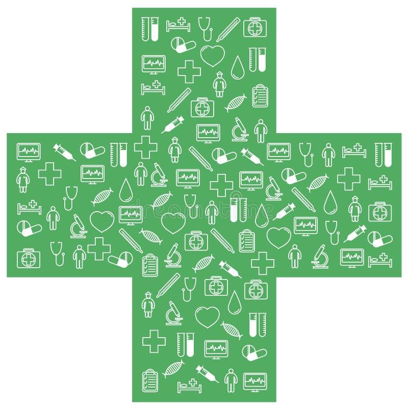 Ιατρικά εικονίδια πρώτων βοηθειών καθορισμένα Διανυσματική απεικόνιση στο γραμμικό (επίπεδο) σχέδιο διανυσματική απεικόνιση