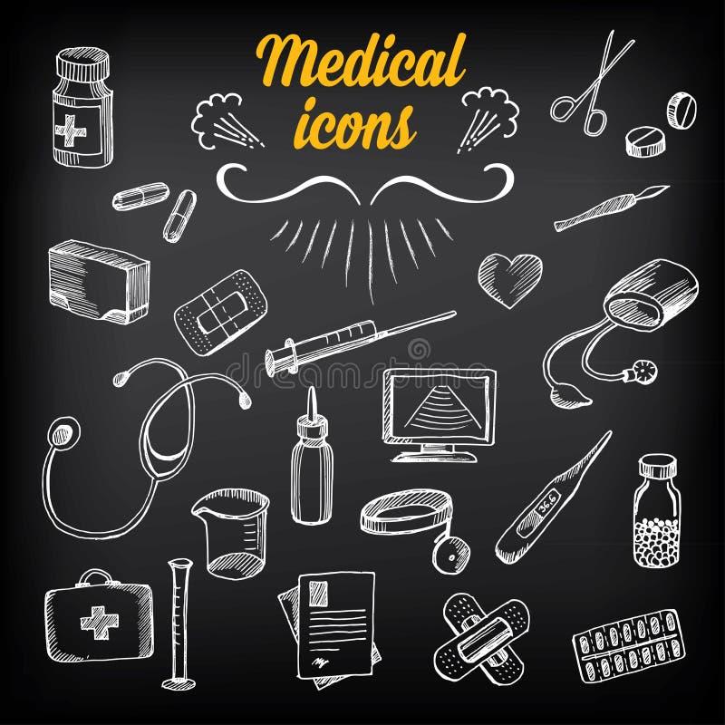 Ιατρικά εικονίδια, σχέδιο σκίτσων Πίνακας κιμωλίας σχεδίων υγειονομικής περίθαλψης ελεύθερη απεικόνιση δικαιώματος