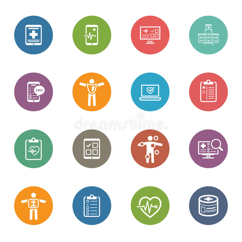 Ιατρικά & εικονίδια υγειονομικής περίθαλψης καθορισμένα Επίπεδο σχέδιο ελεύθερη απεικόνιση δικαιώματος