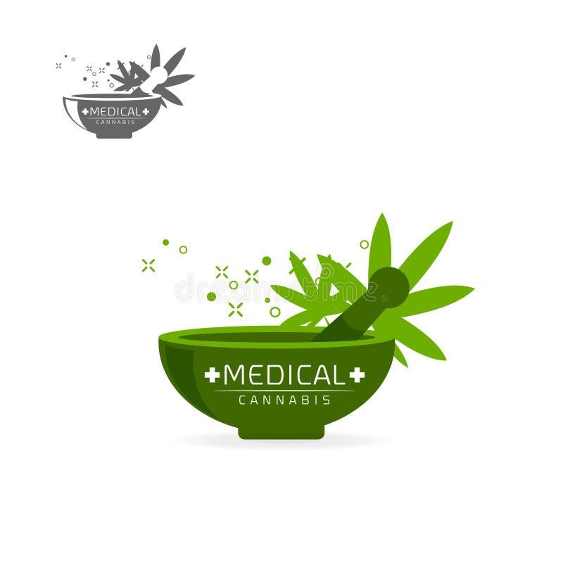 Ιατρικά εμβλήματα καννάβεων, ετικέτα, καθορισμένο διανυσματικό πρότυπο λογότυπων στοκ φωτογραφία με δικαίωμα ελεύθερης χρήσης