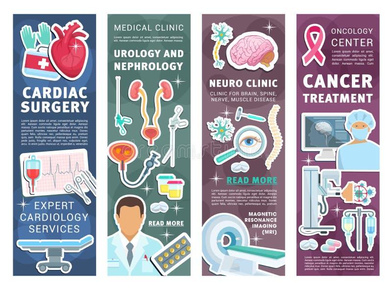 Ιατρικά εμβλήματα κλινικών με τους γιατρούς και το όργανο απεικόνιση αποθεμάτων