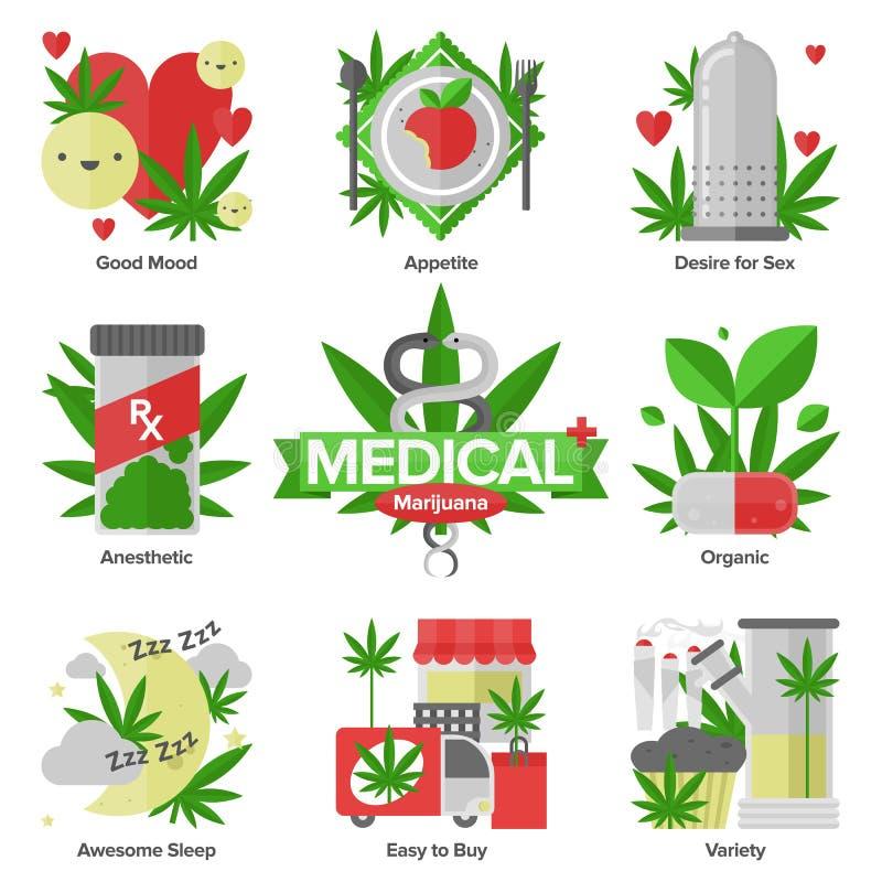 Ιατρικά επίπεδα εικονίδια μαριχουάνα καθορισμένα διανυσματική απεικόνιση