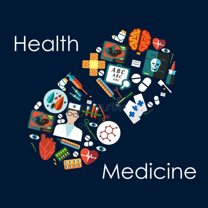 Ιατρικά επίπεδα εικονίδια που τακτοποιούνται σε ένα χάπι ελεύθερη απεικόνιση δικαιώματος