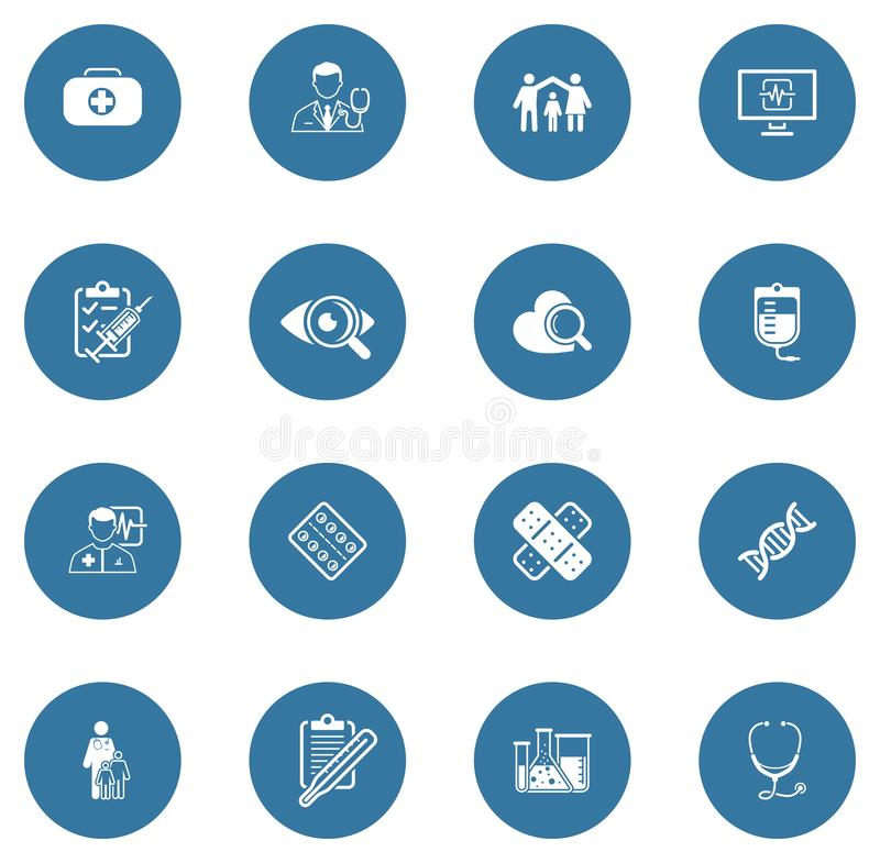 Ιατρικά και εικονίδια υγειονομικής περίθαλψης καθορισμένα : απεικόνιση αποθεμάτων