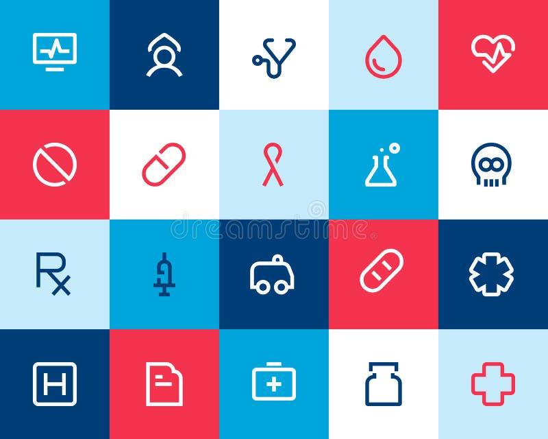 Ιατρικά και εικονίδια υγειονομικής περίθαλψης. Επίπεδος απεικόνιση αποθεμάτων