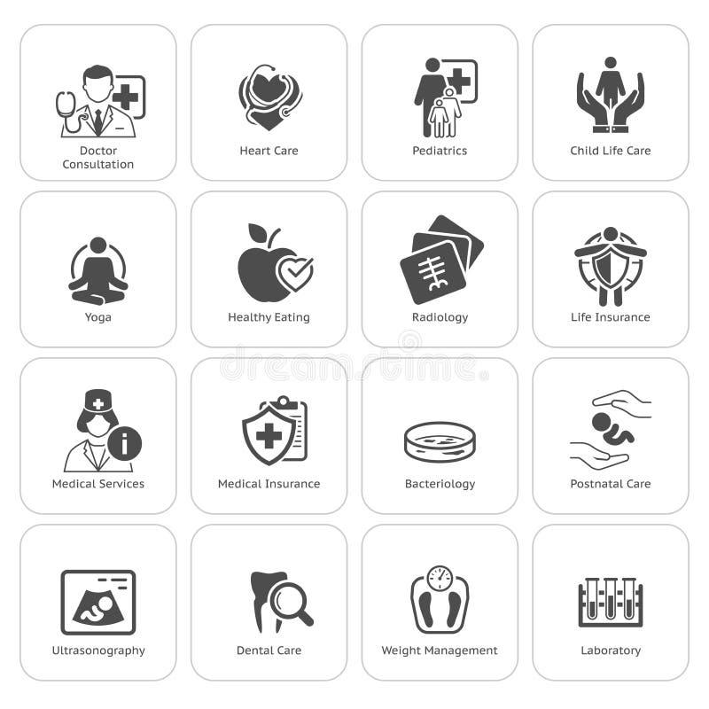 Ιατρικά και εικονίδια υγειονομικής περίθαλψης καθορισμένα Επίπεδο σχέδιο ελεύθερη απεικόνιση δικαιώματος