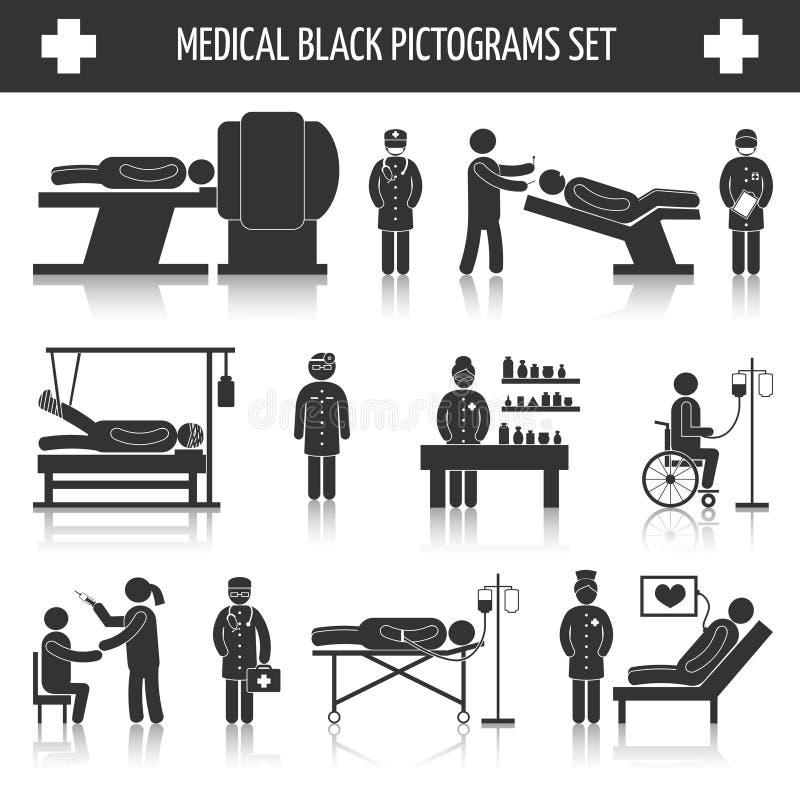 Ιατρικά μαύρα εικονογράμματα καθορισμένα ελεύθερη απεικόνιση δικαιώματος