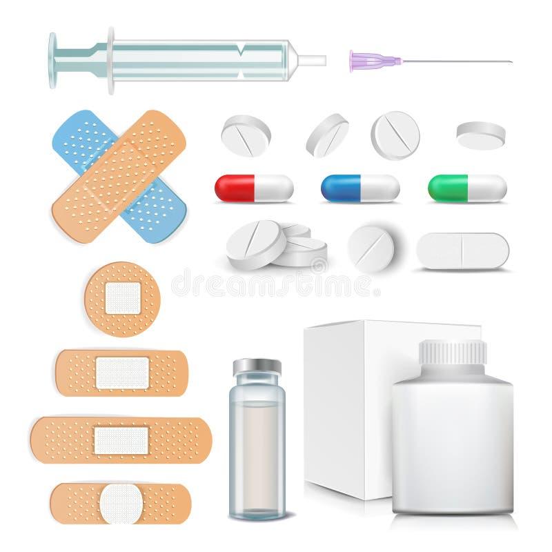 Ιατρικά στοιχεία καθορισμένα διανυσματικά Χάπια, φάρμακα, φιαλλίδιο, σύριγγα, μπάλωμα απομονωμένη ωθώντας s κουμπιών γυναίκα έναρ απεικόνιση αποθεμάτων