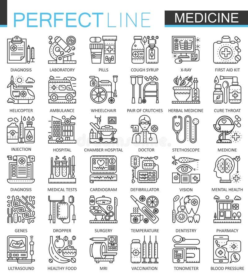 Ιατρικά σύμβολα έννοιας περιλήψεων Τέλεια λεπτά εικονίδια κτυπήματος γραμμών Σύγχρονες γραμμικές απεικονίσεις ύφους υγειονομικής  διανυσματική απεικόνιση
