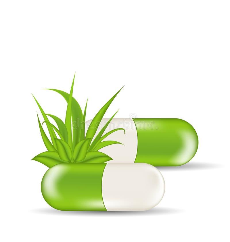 Ιατρικά χάπια τα πράσινες φύλλα και τη χλόη, που απομονώνονται με απεικόνιση αποθεμάτων