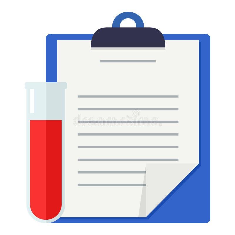 Ιατρικές αναφορές & επίπεδο εικονίδιο φιαλιδίων αίματος ελεύθερη απεικόνιση δικαιώματος