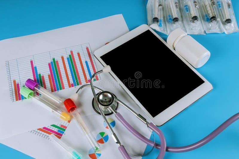 Ιατρικές στατιστικές με την ταμπλέτα και το στηθοσκόπιο στοκ εικόνες με δικαίωμα ελεύθερης χρήσης