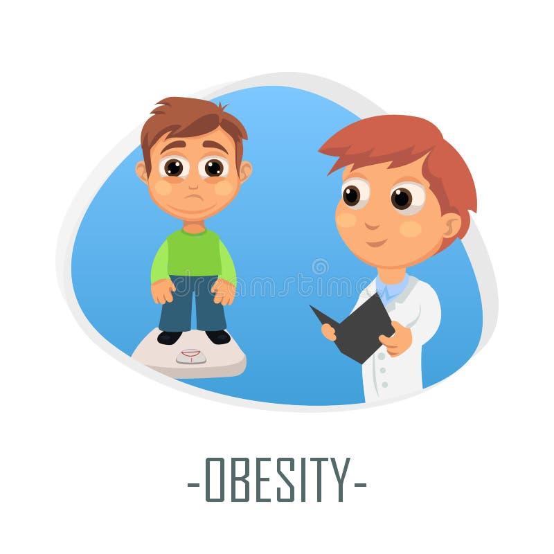 Ιατρική έννοια παχυσαρκίας επίσης corel σύρετε το διάνυσμα απεικόνισης απεικόνιση αποθεμάτων