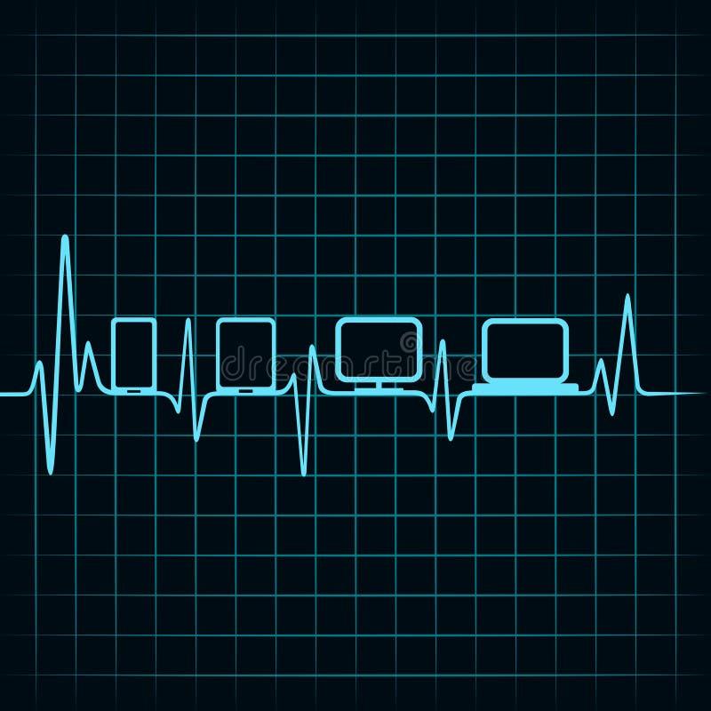 Ιατρική έννοια τεχνολογίας - εικονίδιο συσκευών κτύπου της καρδιάς ελεύθερη απεικόνιση δικαιώματος